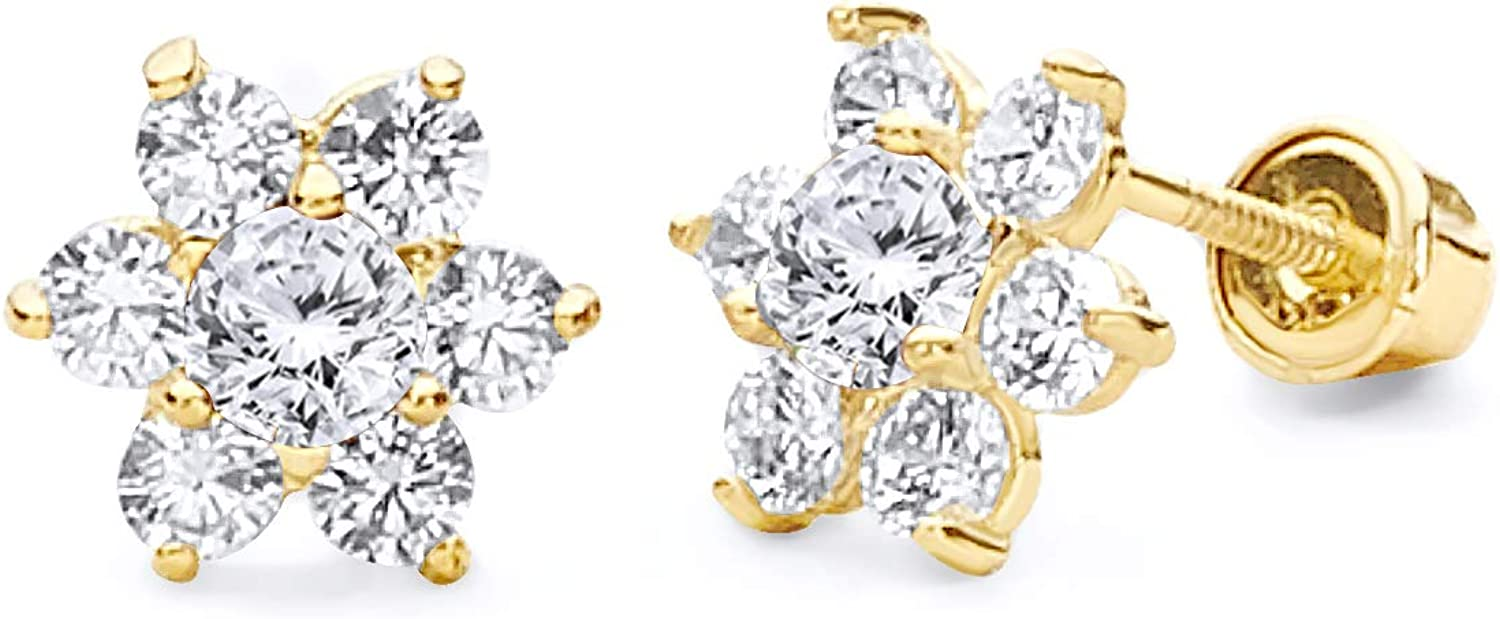 14k Yellow Gold Flower Stud Earrings with Screw Back - 12 Different Color Available