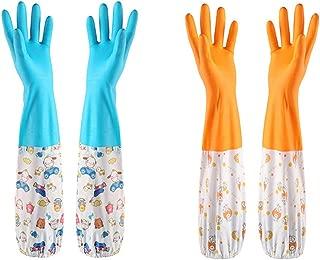 炊事 キッチングローブ 2点セット ゴム手袋 ロング 中厚手 掃除 家事用 可愛い … (ブルー&オレンジ, M)