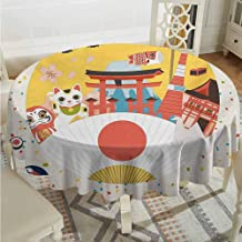 ScottDecor Reusable Round Tablecloth Lantern Japanese Inspired Commercial Pattern Various Culture Items Cool Cat Origami Multicolor Picnic Cloth Diameter 36
