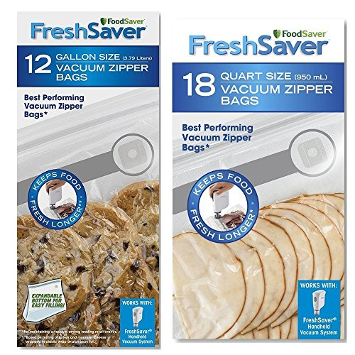 FoodSaver Freshsaver 18 Quart-sized and 12 Gallon-sized Vacuum Zipper Bags Bundle - BPA Free