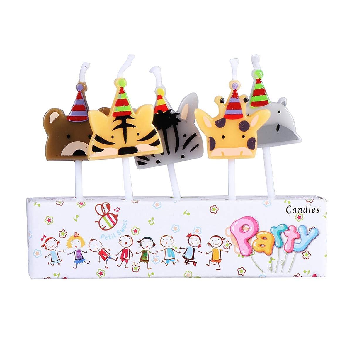 ポケット早く石炭BESTOYARD 子供の誕生日の装飾のための5本の動物の誕生日ケーキの蝋燭