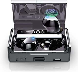 Wireless Earbuds, IPX7 Waterproof Bluetooth 5.0 Headphones with 160H Playtime Touch Control, Premium Stereo Sound in-Ear Bluetooth Headphones with Flashlight, LED Battery Display Charging Case