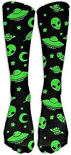 Hunter qiang, Divertidas naves espaciales fluorescentes extraterrestres, planeta, suaves, informales, modernas, medias largas hasta la rodilla: 50 cm