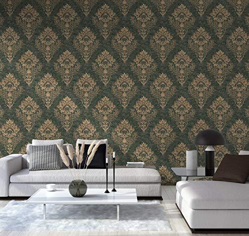 TRENDWALLS Papier peint baroque 4051315504819 - Vert foncé/beige/marron - Avec ornements - Papier peint intissé - Style baroque - Luxe Glamour mat brillant et finement structuré