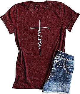 Woxlica Cross Faith Christian Womens T Shirts Graphic Tee Summer Cotton Tops
