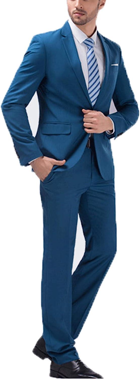 Mens 3-Piece Suit Lake Blue Peaked Lapel One Button Tuxedo Slim Fit Jacket + Pants + Vest Casual Suits