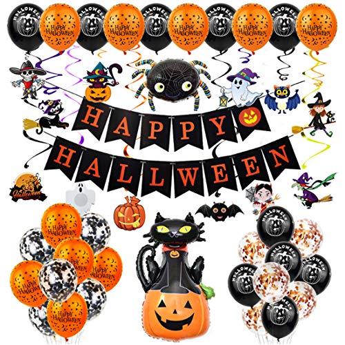 62 Piezas Halloween Globos Set Globos de Decoración de Fiesta de Halloween con Pancarta, Globos de Látex, Arañas, Murciélagos, Fantasmas, Brujas, Halloween Decoración para Casa Bar Halloween Fiesta