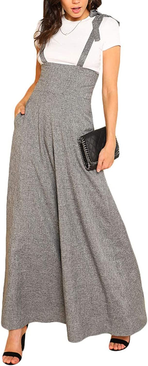 AllAboutUs Self Tie Strap Wide Leg Jumpsuit Grey Sleeveless High Waist Office Ladies Workwear Jumpsuit