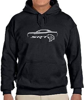 Dodge SRT Challenger Hellcat Classic Silver Color Outline Design Hoodie Sweatshirt