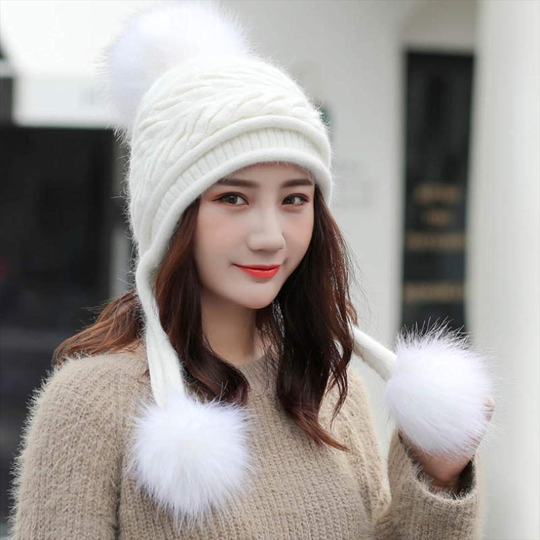 Women's Winter Hat Plush Knitted Wool Hat Plus Velvet Thickening Head Earmuffs Hat Fashion Ski Hat Warm Caps,E