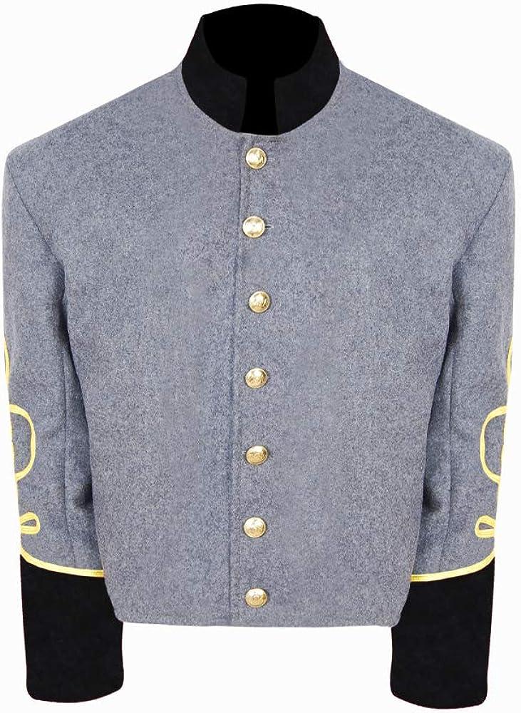 Civil War CS Officer's Militia Free Shipping Cheap Bargain Gift Grey Collar Cuff 3 b rows New mail order Black