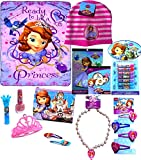 Disney Sofia The First Set Fleece Throw Blanket with Sofia The First Beanie, Sticker-Book,Temp Tattoos, Snap Clips, Necklace, 7 Fruit Flavored Lip Balms, and Cosmetic Pretend Play Set Includes Tiara