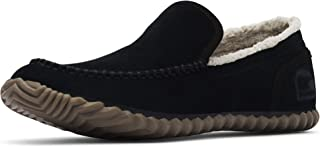 Men's Dude Moc House Slippers and Faux Fur Lining, Suede, Black/Black, 15 M US