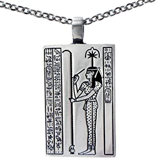 OhDeal4U Seshat Goddess of Writing and Wisdom Silver Pewter Pendant Charm Amulet w Necklace
