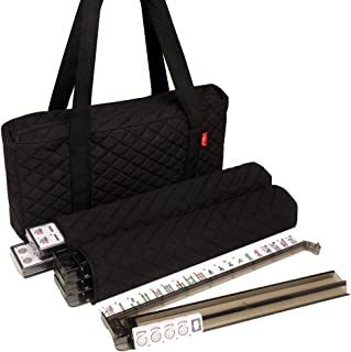 American Mah Jongg Set by Linda Li - Black Quilted Soft Bag - 166 White Engraved Tiles, 4 All-In-One Rack/Pushers