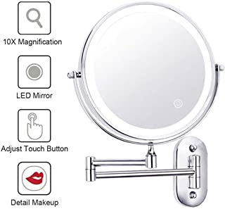 Makeup Mirror Lighted Wall Mounted Makeup Mirror with 10x Magnification, Double Sided Extendable Mirror for Bathroom 360 ° Rotation, Powered by 4xAAA Batteries(Not Included)