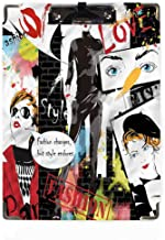Girls Decor Hardboard Clipboards,Low Profile Clip Glamour Fashion Magazine Lady Clipboard Designed for Students Nurse Office Worker for Letter Size Paper