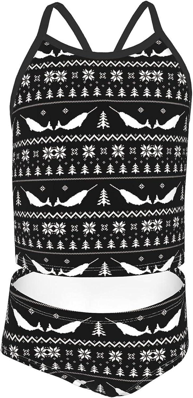 Girls 2 Piece Tankini Swimsuit Set Narwhal Marry Christmas Bikini Beach Sport Swimsuit Comfortable Bathing Suit