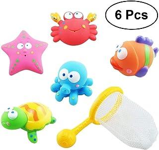 Un ncie Baby Bath Toys Ocean Cute Animal Tub Toys Set 6Pcs for Kids Toddlers Bath Fun Gift