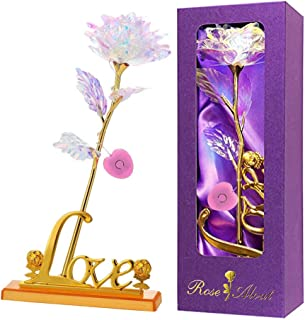 Colorful Artificial Rose Flower Present 24K Golden Foil with LED Love Base Stand Unique Gifts for Her Girlfriend Wife Wome...