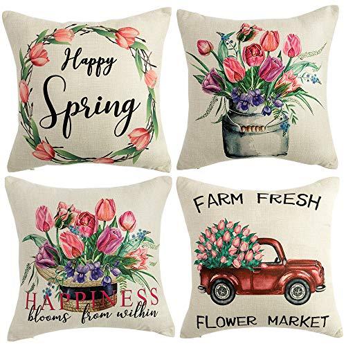 WLNUI Juego de 4 fundas de almohada de primavera de 45,7 x 45,7 cm para decoración del hogar, diseño vintage de flores y tulipanes rosas, para decoración del hogar