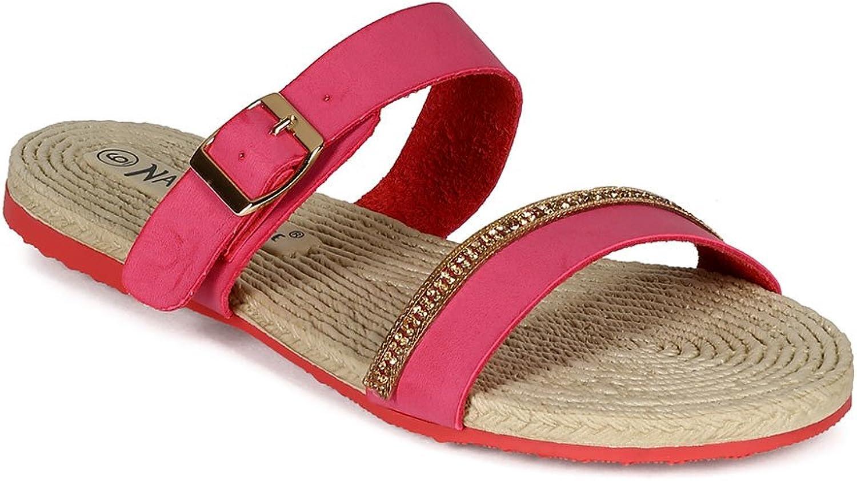 Nature Breeze CC27 Women Leatherette Open Toe Strap Woven Jewel Embellishment Sandal - Coral