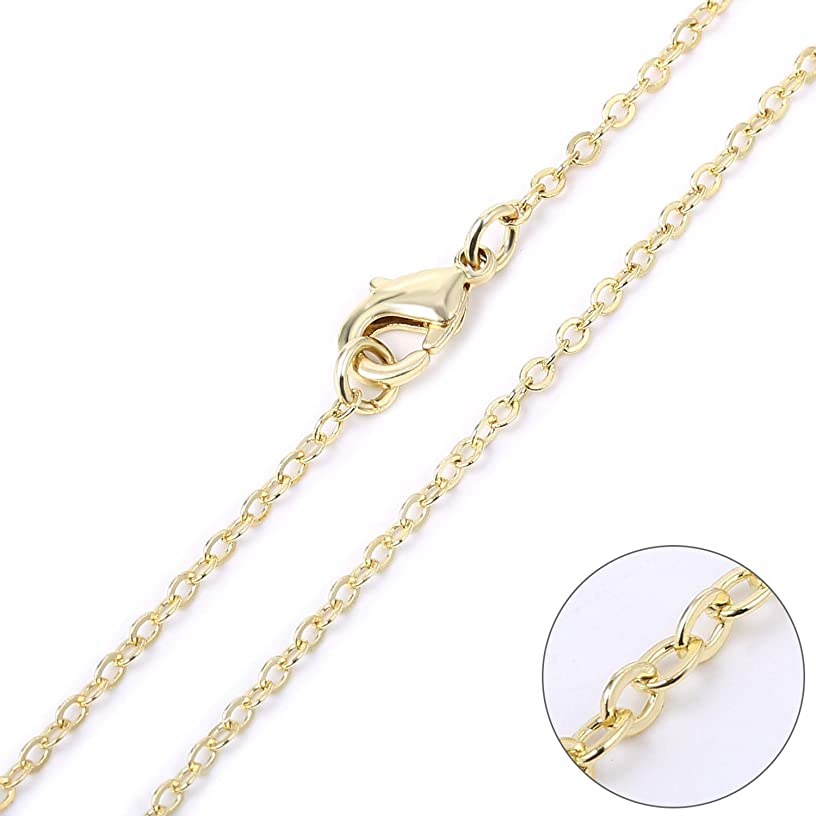 Wholesale 12 PCS Gold Plated Brass Flat Cable Chain Finished Necklace Chains Bulk for Jewelry Making (30 Inch(2 MM))