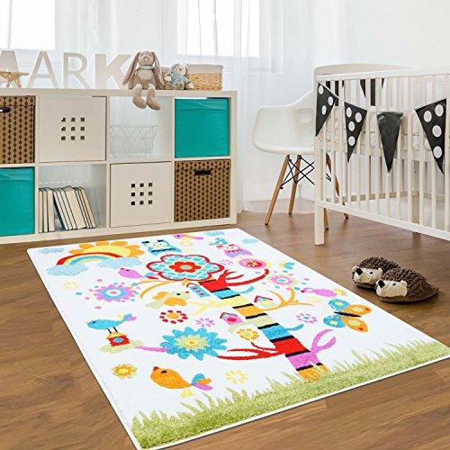 carpet city Kinder Teppich für das Kinderzimmer Öko Tex 100 2080 Netter Baum mit Regenbogen 160x225 cm