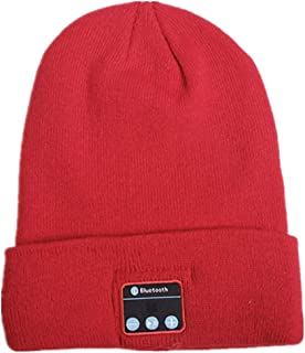 GLJJQMY Fashion Curling Bluetooth Headset Knit Hat Smart Call Bluetooth Earphone (Color : RED)