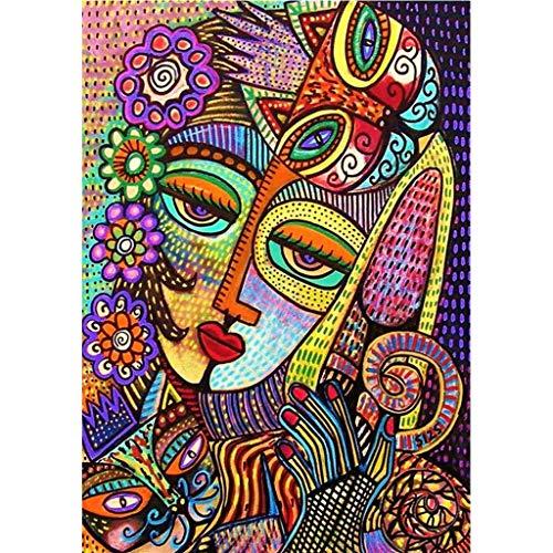 MIKI-Z Kit de pintura con diamantes de imitación 5D para mujer abstracta