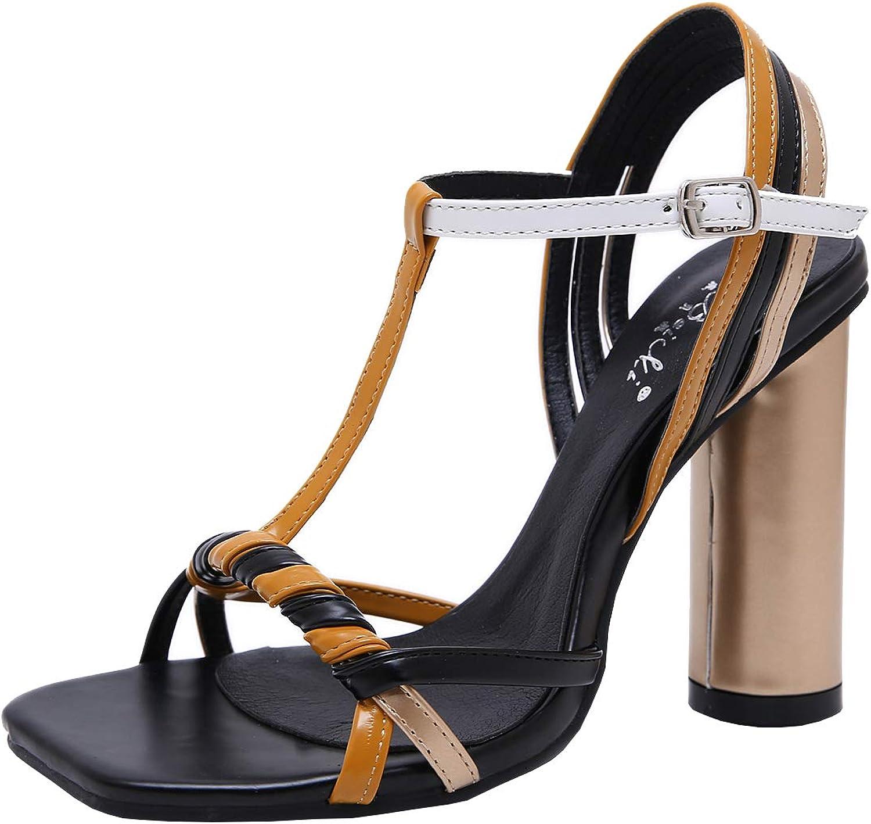 Artfaerie Womens Multicolord Strappy Sandal Block High Heel T-bar Open Toe Dress Summer shoes