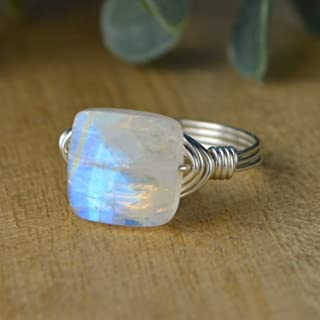 Rainbow Moonstone Ring- Faceted Square Gemstone Bead and Sterling Silver or Gold Filled Wire Wrapped Ring- Made to size 4-14