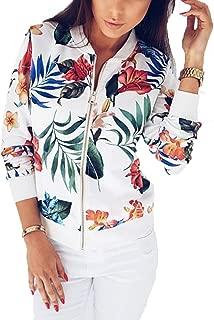 RINZON Women's Long Sleeve Floral Zipper Baseball Jacket Windbreaker Leaf Printed Fall Spring Outfits Bomber Jacket