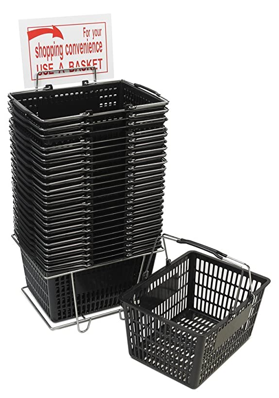 Only Hangers Black Shopping Basket Set (24 Baskets Stand & Sign)