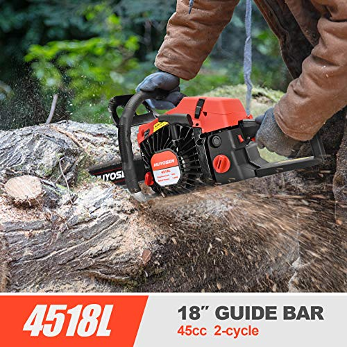 HUYOSEN 45CC 2-Stroke Gas Powered Chainsaw, 18-Inch Chainsaw, Cordless Handheld Gasoline Power Chain Saws for Cutting Trees, Wood, Garden and Farm(4518L)