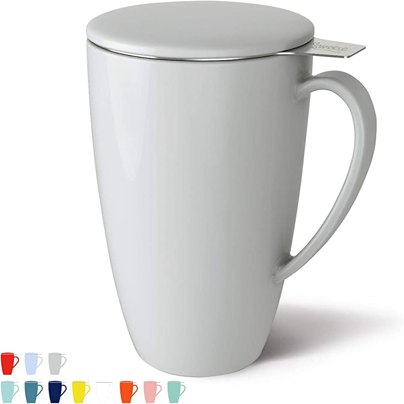 Sweese 201 111 Porcelain Tea Mug With Infuser And Lid 15 OZ Frosted Lightgray