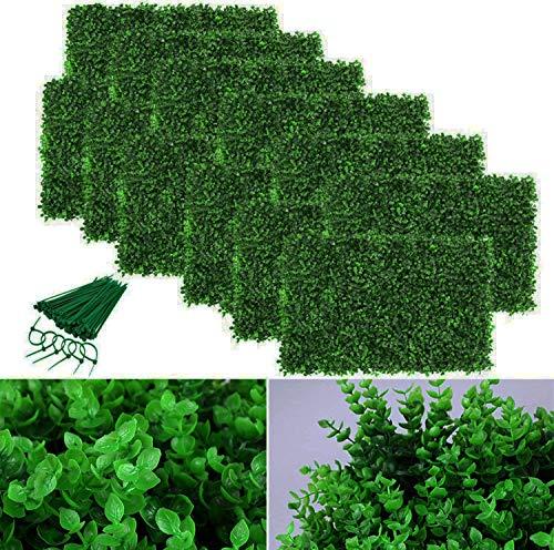 ybaymy 12 Stück Künstliche Efeu Künstliche Hecke Hängepflanzen Künstliche Pflanze Rasen Wand, UV-geschützt Grüne Wandkulisse, für Haus Zimmer Garten Hochzeit Girlande Garten Dekoration 60 X 40cm
