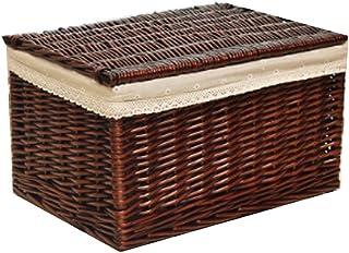 FBBSZSD Boîte de Rangement pour Panier de Rangement en Osier avec Couvercle, boîte de Rangement en rotin, tiroir pour vête...