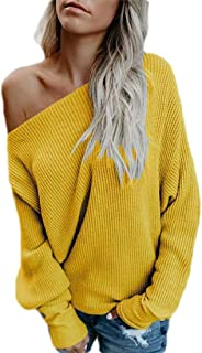 Women's One Off Shoulder Shirt Sexy Long Sleeve Baggy Pullover Tops