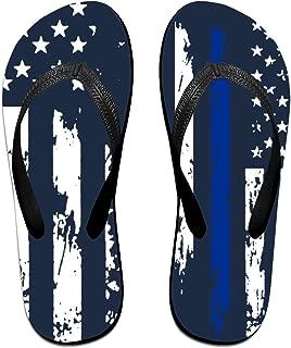 Retro Thin Blue Line USA Flag Women's Thong Sandals Summer Light Weight Shock Proof Shower Slippers Flip-Flops