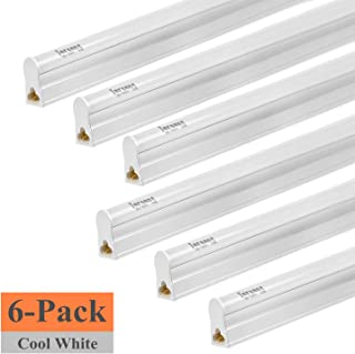 (Pack of 6) Jarsant LED T5 Integrated Single Fixture Utility Shop Light, LED Tube Light 20W 4FT 2200lm 6500K (Super Bright White), Ceiling Under Cabinet Light, Corded Electric Built-in ON/Off Switch