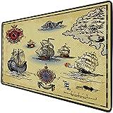 Mouse Pad Gaming Funcional Brújula Alfombrilla de ratón gruesa impermeable para escritorio Antiguo Antiguo plan Discovery Barco Pirata Ola Brújula Navegación Geografía Tema,Beige Rojo Gris, Base de go