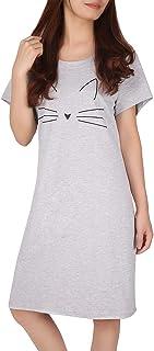 قميص نوم قطني للنساء من HDE قميص نوم بأكمام قصيرة قميص نوم للنوم