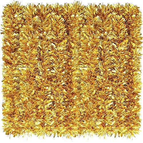 WILLBOND 26.2 Feet Christmas Tinsel Garland Metallic Tinsel Twist Garland Glitter Christmas Tree Hanging Garland Decoration for Christmas Party Indoor and Outdoor Ornament (Gold)