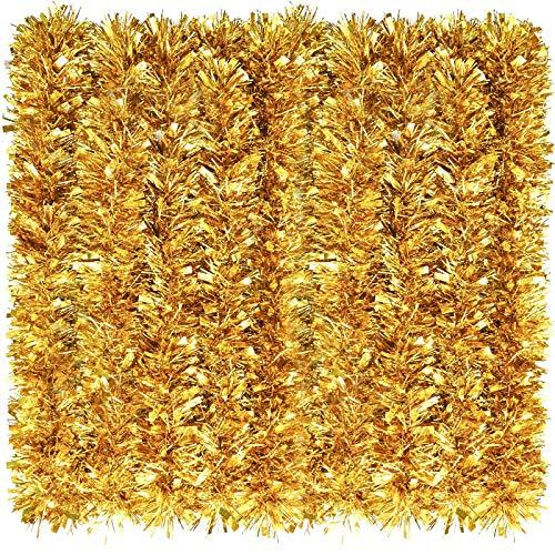 eBoot 39,4 Fuß Weihnachten Lametta Girlande Glänzend Girlande Metallisch Weihnachtsbaum Girlande Hängende Dekoration für Weihnachten Party Indoor und Outdoor Dekoration (Gold)