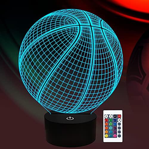 Basketball 3D Nachtlicht Geburtstagsgeschenk Lampe, leuchten Basketball Geschenke 3D Illusion Lampe mit Fernbedienung 16 Farben Ändern Sport Fan Raumdekoration Junge Kinderzimmer Idee