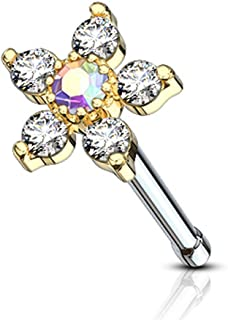 6 CZ Flower Top 316L Surgical Steel Nose Bone Stud Ring