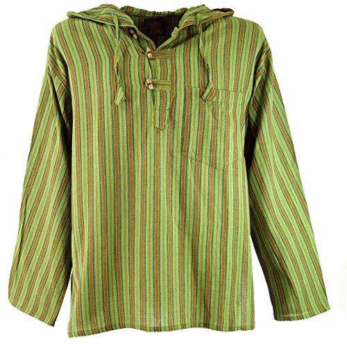 GURU SHOP Nepal Hemd, Goa Hippie Sweatshirt - Grün, Herren, Baumwolle, Size:50, Sweatshirts & Hoodies Alternative Bekleidung