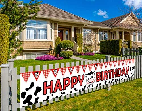 Farm Happy Birthday Banner, Barn Theme Party Banner, Cow Happy Birthday Banner, Farm Theme Party Decorations Supplies (9.8 x 1.5 feet)
