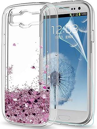 223af302343 LeYi Compatible with Funda Samsung Galaxy S3 / S3 Neo Silicona Purpurina  Carcasa con HD Protectores